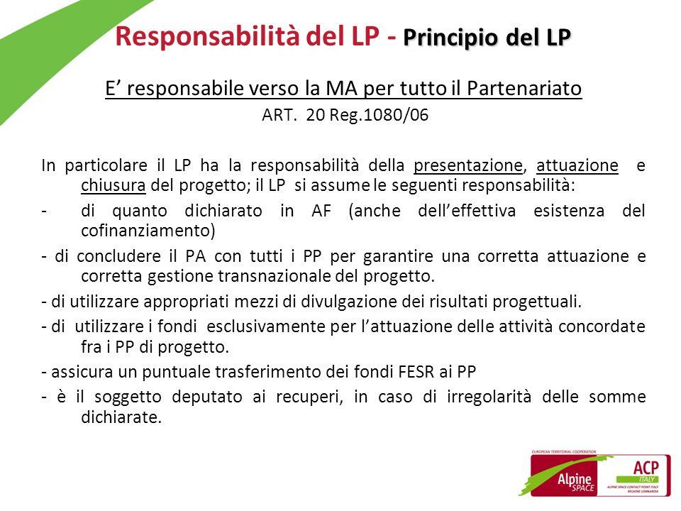 Principio del LP Responsabilità del LP - Principio del LP E responsabile verso la MA per tutto il Partenariato ART. 20 Reg.1080/06 In particolare il L