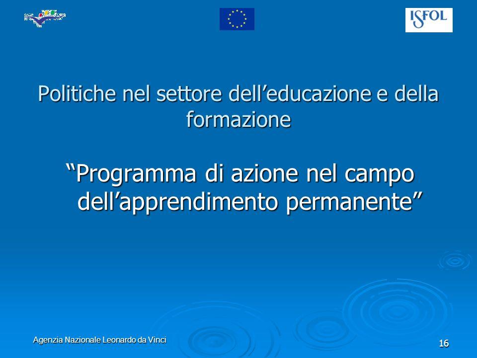 Agenzia Nazionale Leonardo da Vinci 16 Politiche nel settore delleducazione e della formazione Programma di azione nel campo dellapprendimento permanente