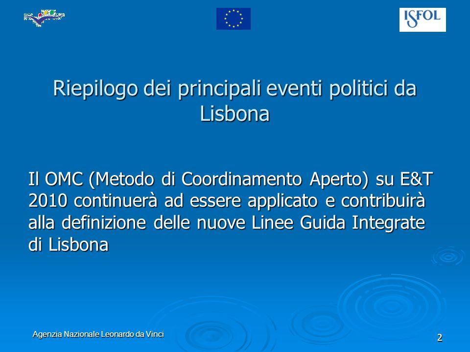 Agenzia Nazionale Leonardo da Vinci 13 Landatura delle riforme deve essere accelerata Sviluppo dei sistemi di monitoraggio e valutazione Aumento dellapprendimento tra pari Migliore utilizzo di fondi strutturali