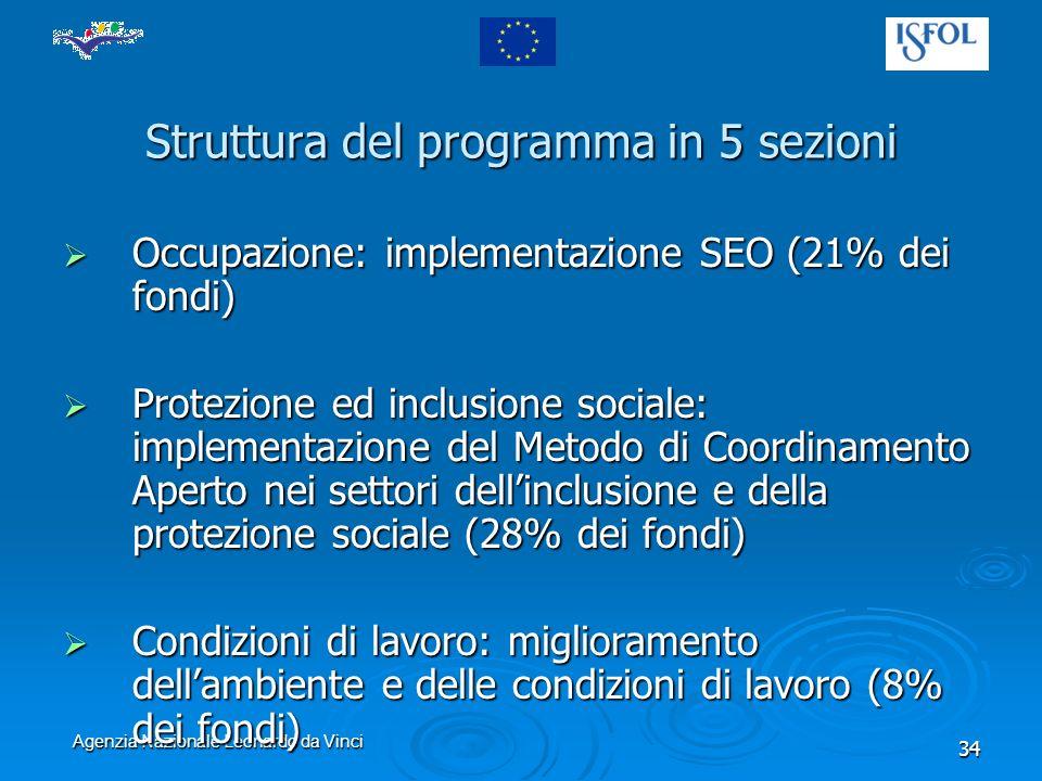 Agenzia Nazionale Leonardo da Vinci 34 Struttura del programma in 5 sezioni Occupazione: implementazione SEO (21% dei fondi) Occupazione: implementazione SEO (21% dei fondi) Protezione ed inclusione sociale: implementazione del Metodo di Coordinamento Aperto nei settori dellinclusione e della protezione sociale (28% dei fondi) Protezione ed inclusione sociale: implementazione del Metodo di Coordinamento Aperto nei settori dellinclusione e della protezione sociale (28% dei fondi) Condizioni di lavoro: miglioramento dellambiente e delle condizioni di lavoro (8% dei fondi) Condizioni di lavoro: miglioramento dellambiente e delle condizioni di lavoro (8% dei fondi)