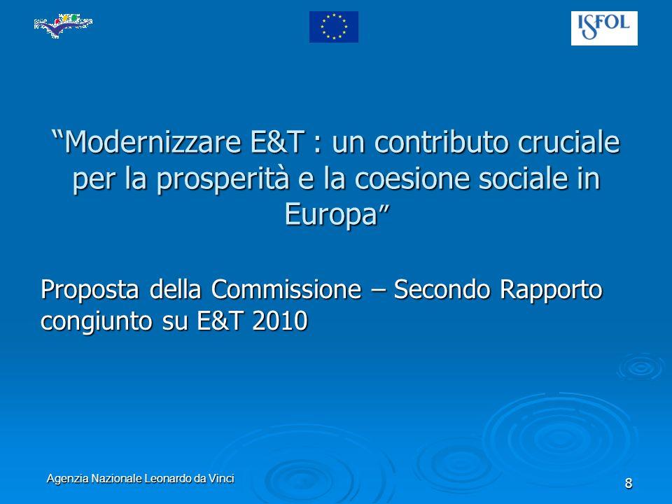 Agenzia Nazionale Leonardo da Vinci 8 Modernizzare E&T : un contributo cruciale per la prosperità e la coesione sociale in Europa Modernizzare E&T : un contributo cruciale per la prosperità e la coesione sociale in Europa Proposta della Commissione – Secondo Rapporto congiunto su E&T 2010