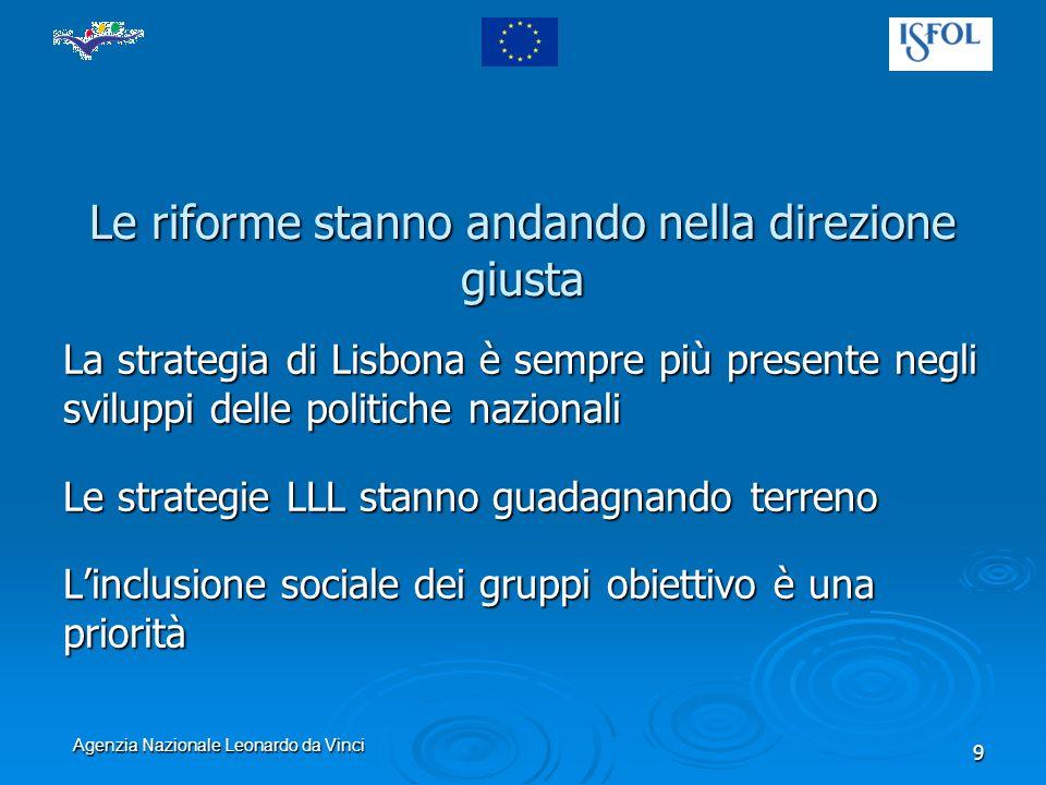 Agenzia Nazionale Leonardo da Vinci 9 Le riforme stanno andando nella direzione giusta La strategia di Lisbona è sempre più presente negli sviluppi delle politiche nazionali Le strategie LLL stanno guadagnando terreno Linclusione sociale dei gruppi obiettivo è una priorità