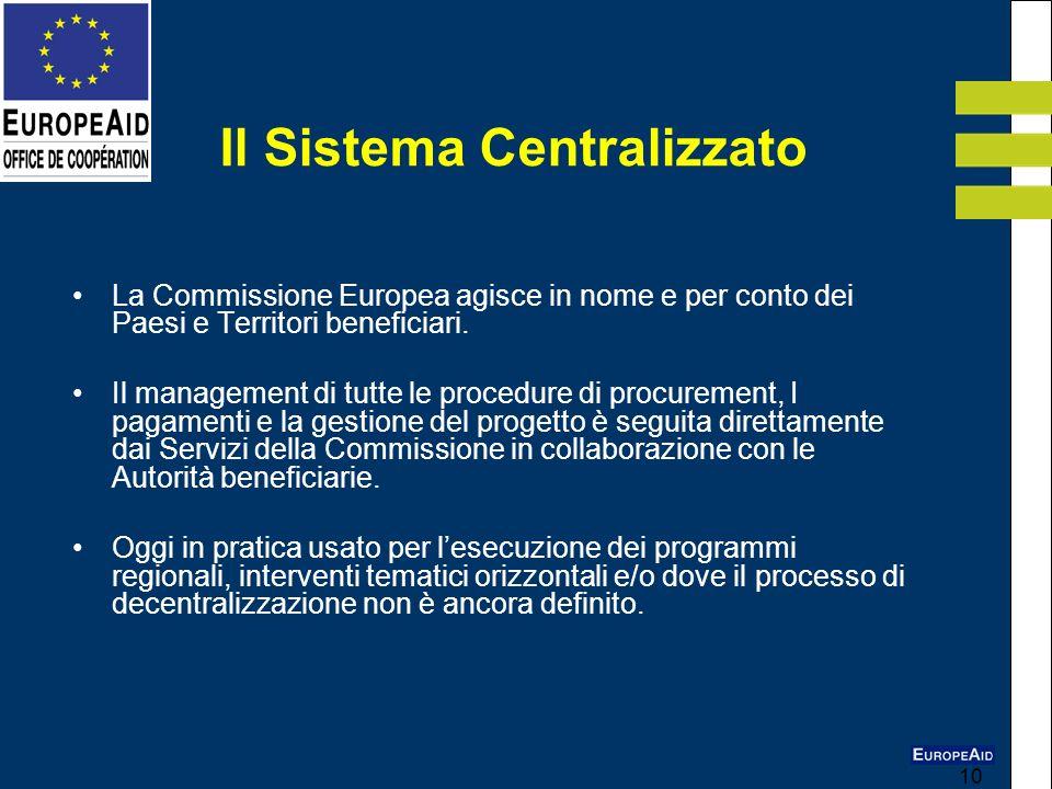 10 La Commissione Europea agisce in nome e per conto dei Paesi e Territori beneficiari. Il management di tutte le procedure di procurement, I pagament