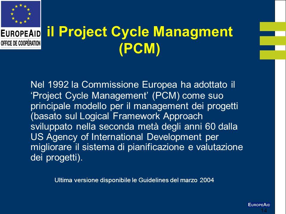 14 Nel 1992 la Commissione Europea ha adottato il Project Cycle Management (PCM) come suo principale modello per il management dei progetti (basato su