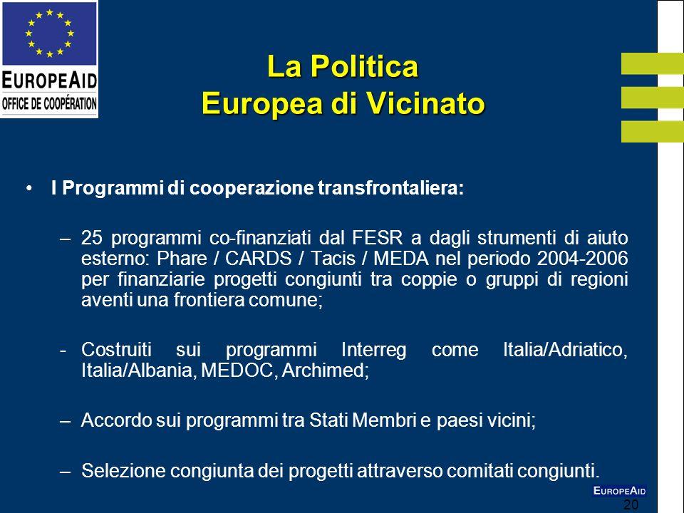 20 La Politica Europea di Vicinato I Programmi di cooperazione transfrontaliera: –25 programmi co-finanziati dal FESR a dagli strumenti di aiuto ester