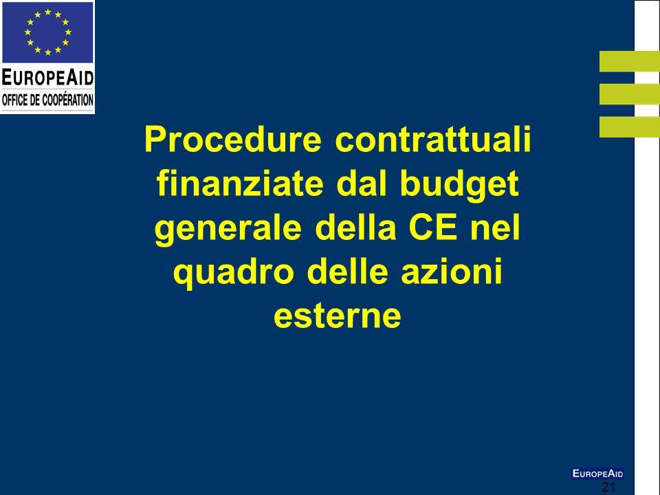 21 Procedure contrattuali finanziate dal budget generale della CE nel quadro delle azioni esterne