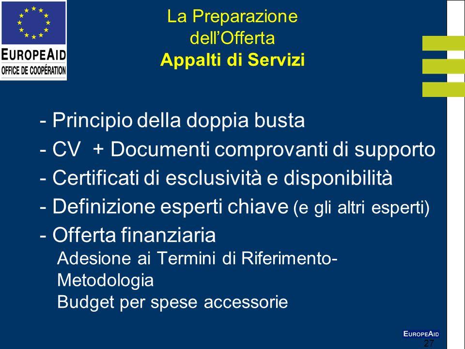 27 La Preparazione dellOfferta Appalti di Servizi - Principio della doppia busta - CV + Documenti comprovanti di supporto - Certificati di esclusività