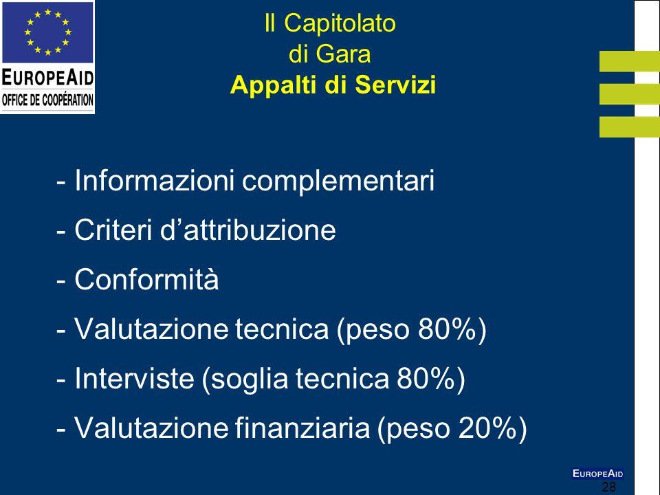 28 Il Capitolato di Gara Appalti di Servizi - Informazioni complementari - Criteri dattribuzione - Conformità - Valutazione tecnica (peso 80%) - Inter