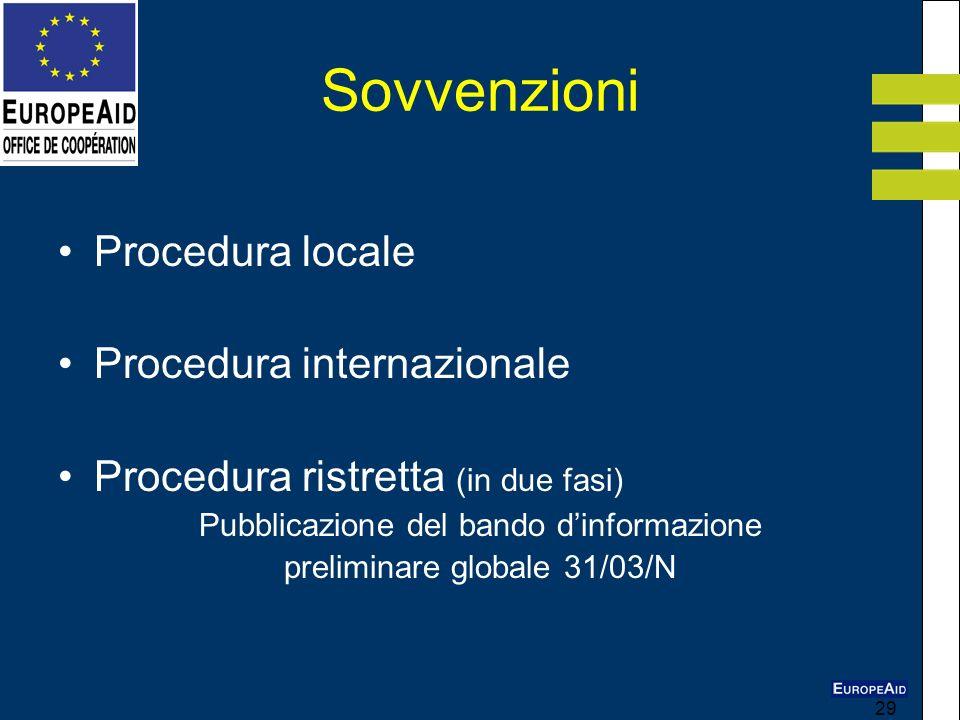 29 Sovvenzioni Procedura locale Procedura internazionale Procedura ristretta (in due fasi) Pubblicazione del bando dinformazione preliminare globale 3