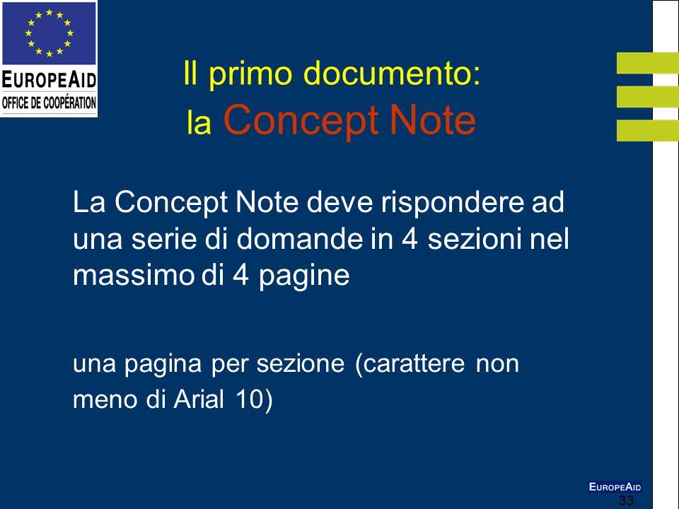 33 La Concept Note deve rispondere ad una serie di domande in 4 sezioni nel massimo di 4 pagine una pagina per sezione (carattere non meno di Arial 10