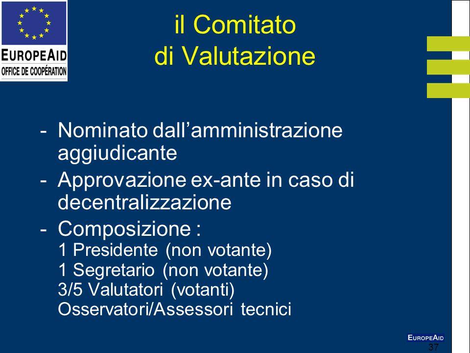 37 il Comitato di Valutazione - Nominato dallamministrazione aggiudicante - Approvazione ex-ante in caso di decentralizzazione -Composizione : 1 Presi