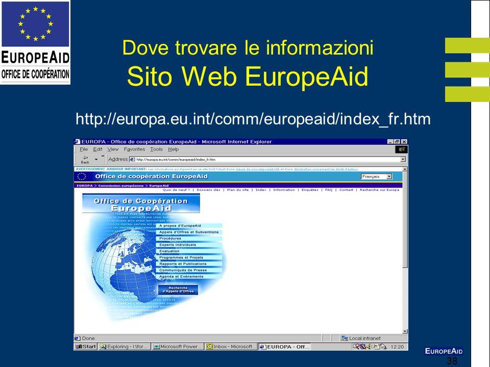38 Dove trovare le informazioni Sito Web EuropeAid http://europa.eu.int/comm/europeaid/index_fr.htm