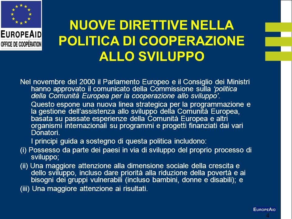 4 Nel novembre del 2000 il Parlamento Europeo e il Consiglio dei Ministri hanno approvato il comunicato della Commissione sulla politica della Comunit