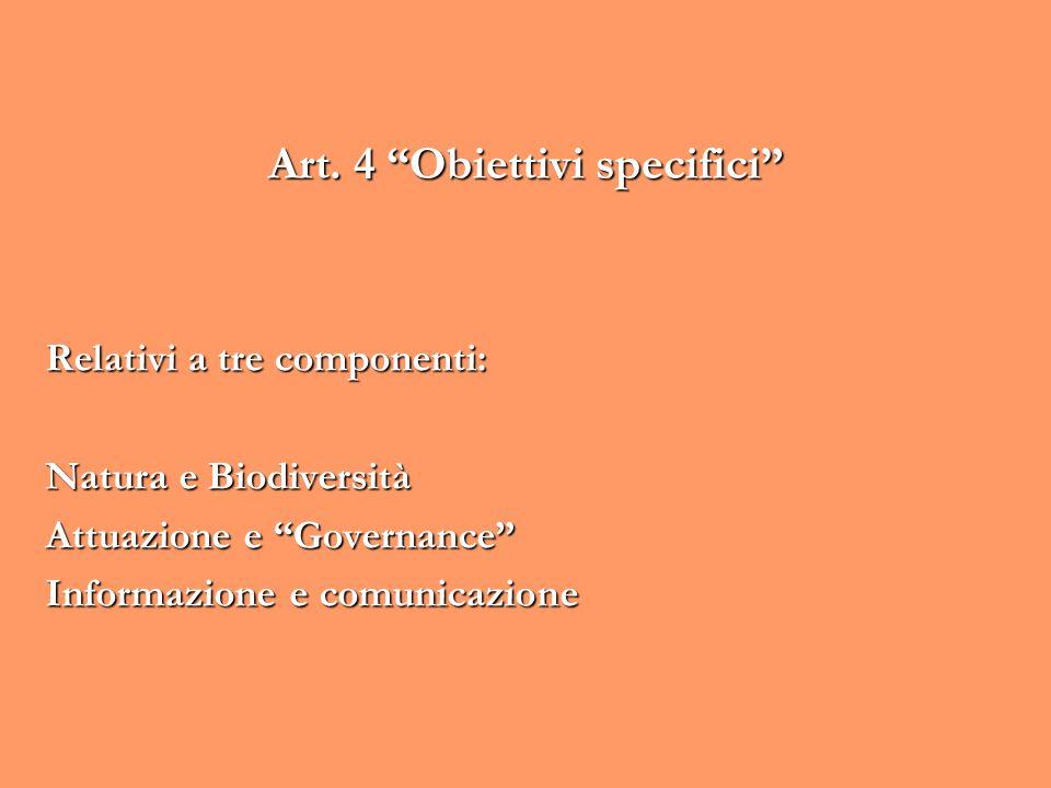 Art. 4 Obiettivi specifici Relativi a tre componenti: Natura e Biodiversità Attuazione e Governance Informazione e comunicazione