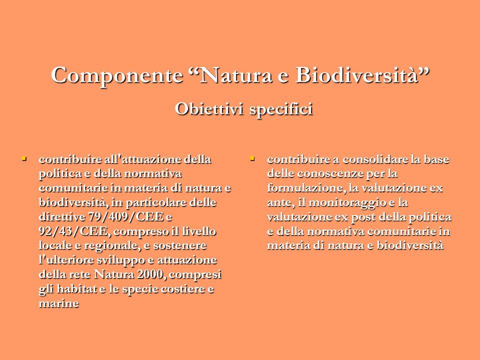 Componente Natura e Biodiversità Obiettivi specifici contribuire all'attuazione della politica e della normativa comunitarie in materia di natura e bi