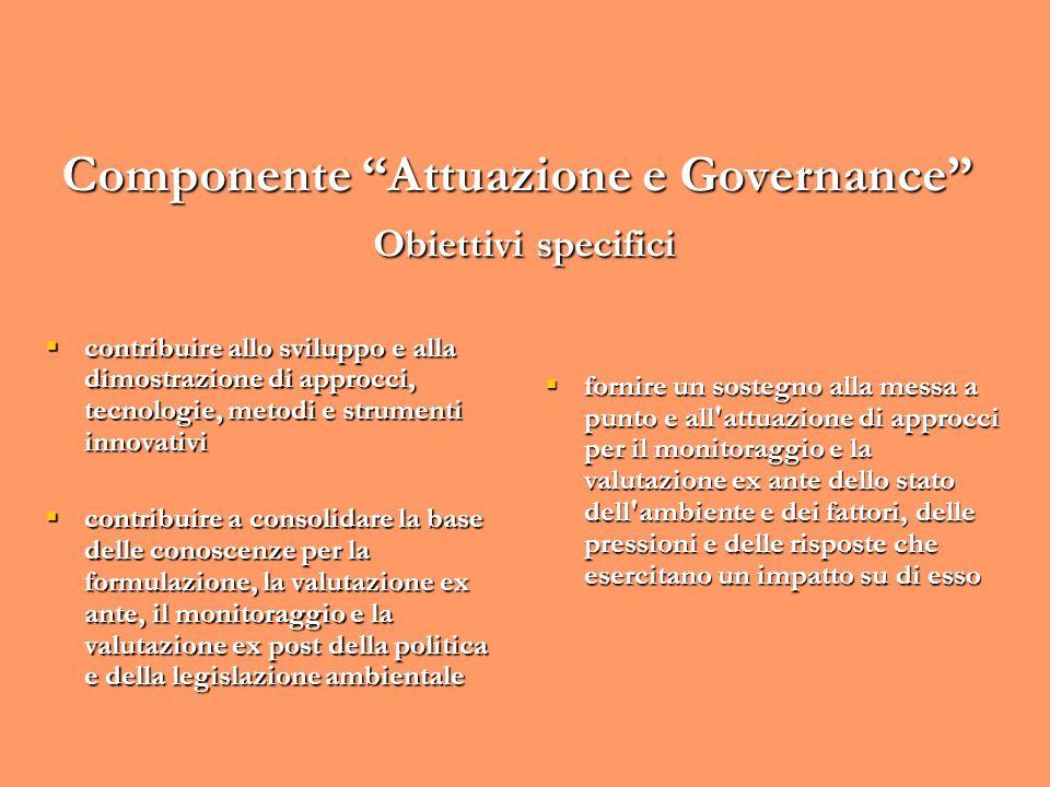 Componente Attuazione e Governance Obiettivi specifici contribuire allo sviluppo e alla dimostrazione di approcci, tecnologie, metodi e strumenti inno