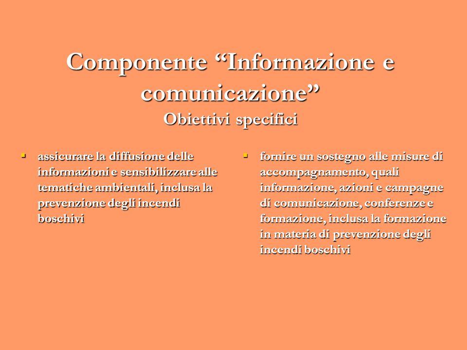 Componente Informazione e comunicazione Obiettivi specifici assicurare la diffusione delle informazioni e sensibilizzare alle tematiche ambientali, in