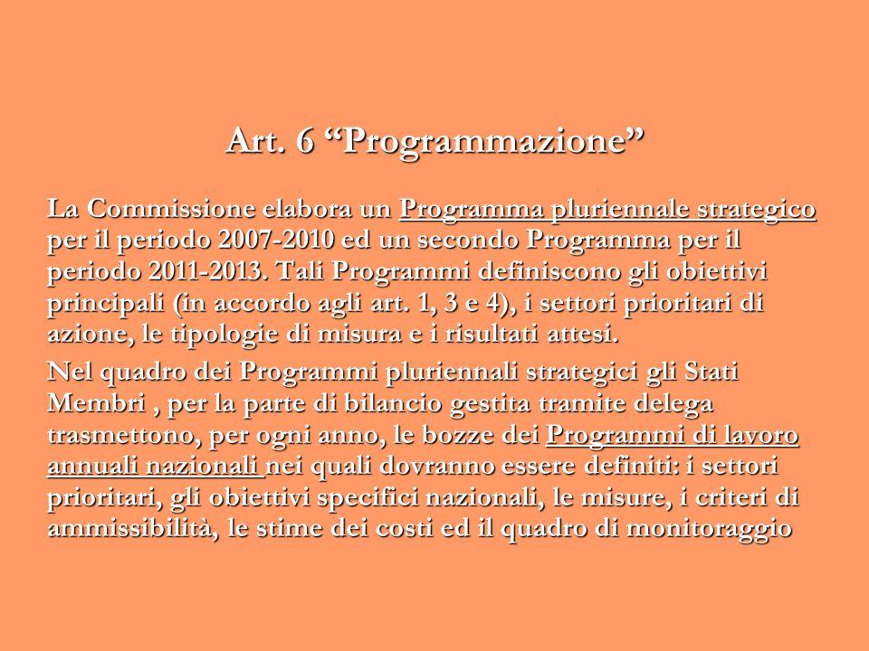 Art. 6 Programmazione La Commissione elabora un Programma pluriennale strategico per il periodo 2007-2010 ed un secondo Programma per il periodo 2011-