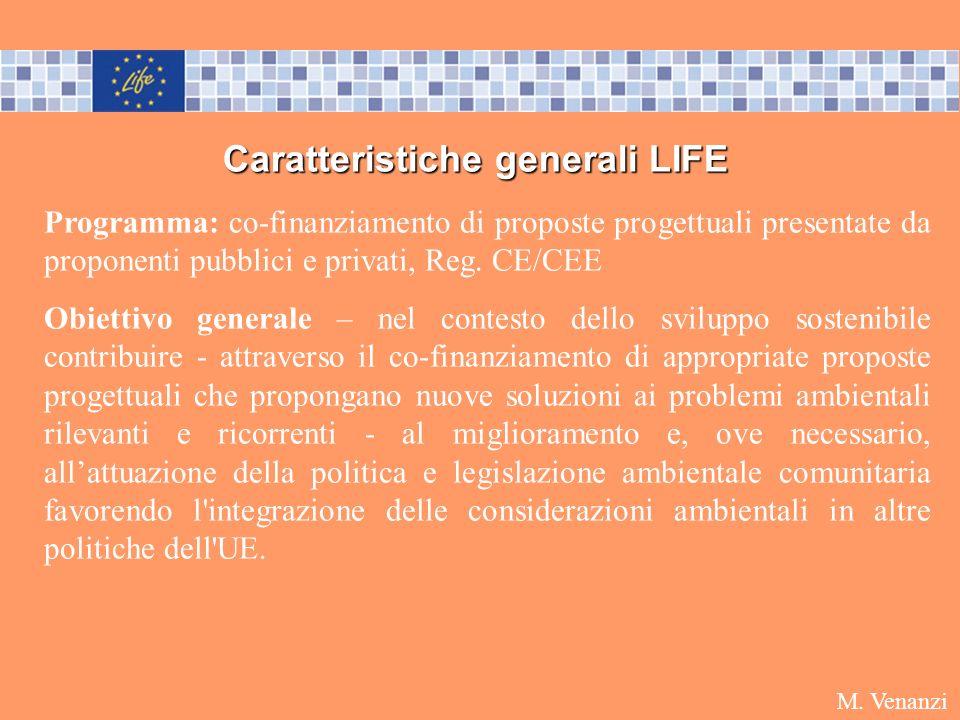Caratteristiche generali LIFE Programma: co-finanziamento di proposte progettuali presentate da proponenti pubblici e privati, Reg. CE/CEE Obiettivo g