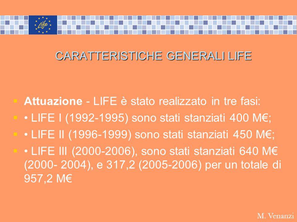 CARATTERISTICHE GENERALI LIFE Attuazione - LIFE è stato realizzato in tre fasi: LIFE I (1992-1995) sono stati stanziati 400 M; LIFE II (1996-1999) son