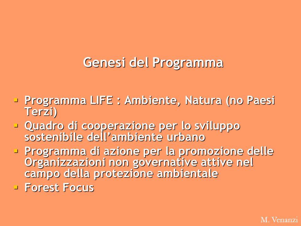 Genesi del Programma Programma LIFE : Ambiente, Natura (no Paesi Terzi) Programma LIFE : Ambiente, Natura (no Paesi Terzi) Quadro di cooperazione per