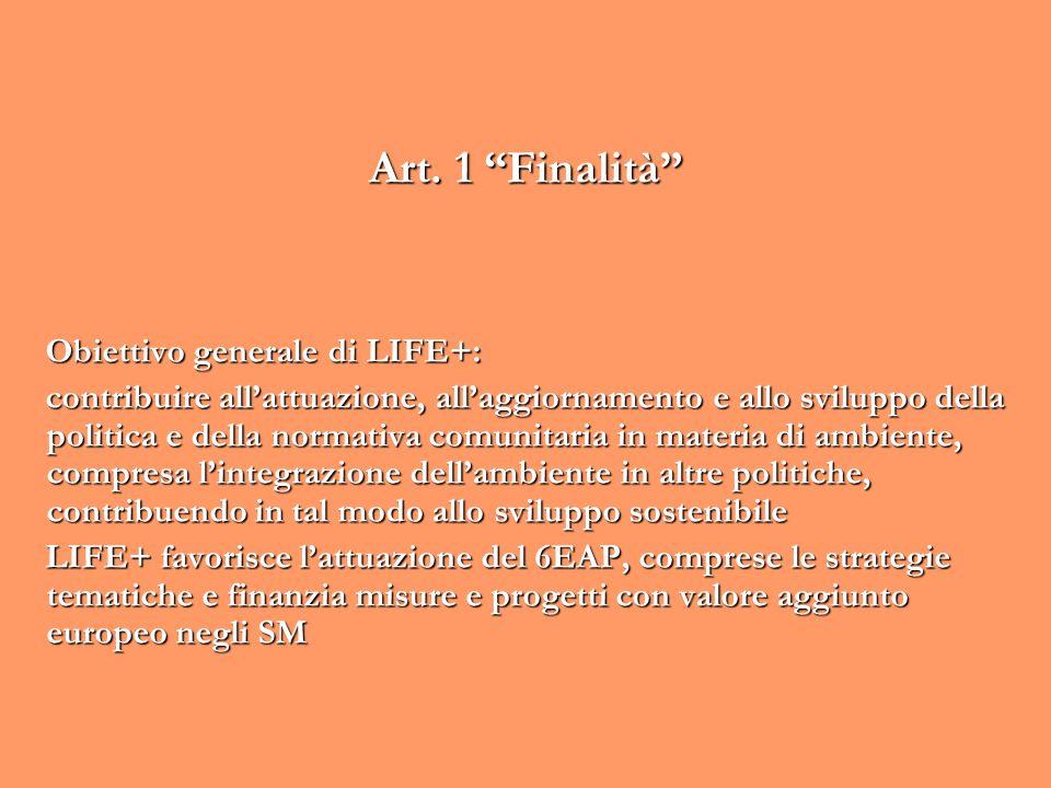 Art. 1 Finalità Obiettivo generale di LIFE+: contribuire allattuazione, allaggiornamento e allo sviluppo della politica e della normativa comunitaria