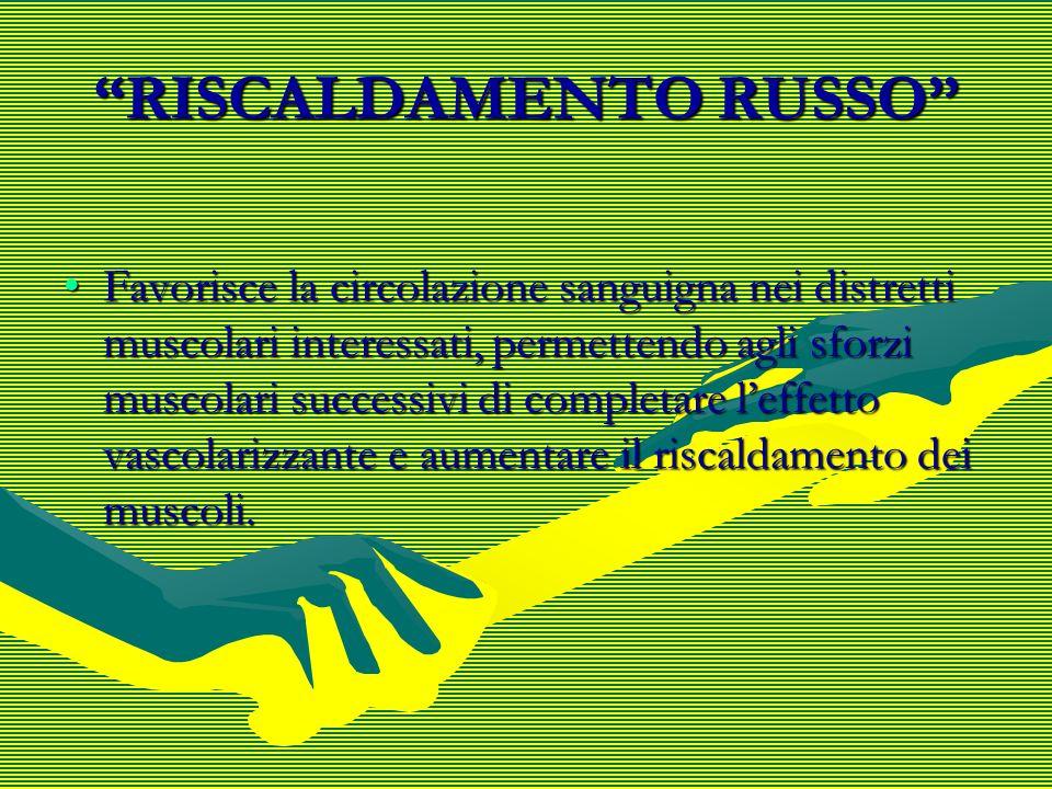 RISCALDAMENTO RUSSO Favorisce la circolazione sanguigna nei distretti muscolari interessati, permettendo agli sforzi muscolari successivi di completar
