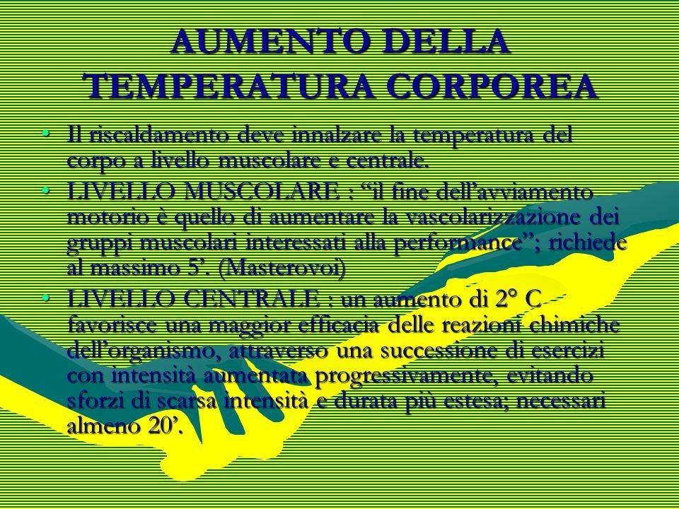 AUMENTO DELLA TEMPERATURA CORPOREA Il riscaldamento deve innalzare la temperatura del corpo a livello muscolare e centrale.Il riscaldamento deve innal