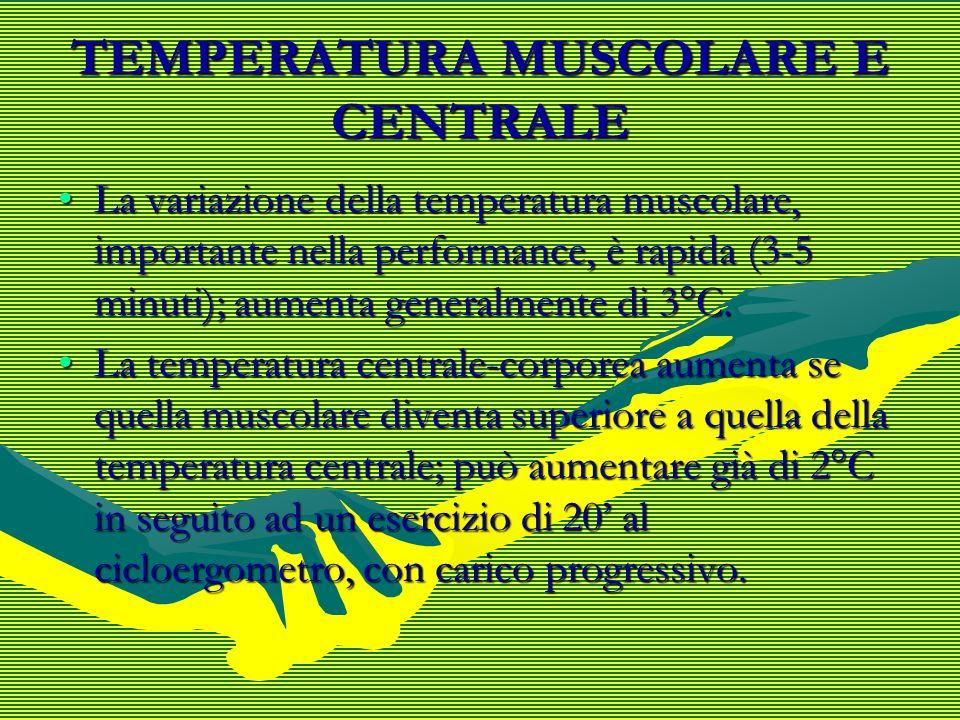 TEMPERATURA MUSCOLARE E CENTRALE La variazione della temperatura muscolare, importante nella performance, è rapida (3-5 minuti); aumenta generalmente