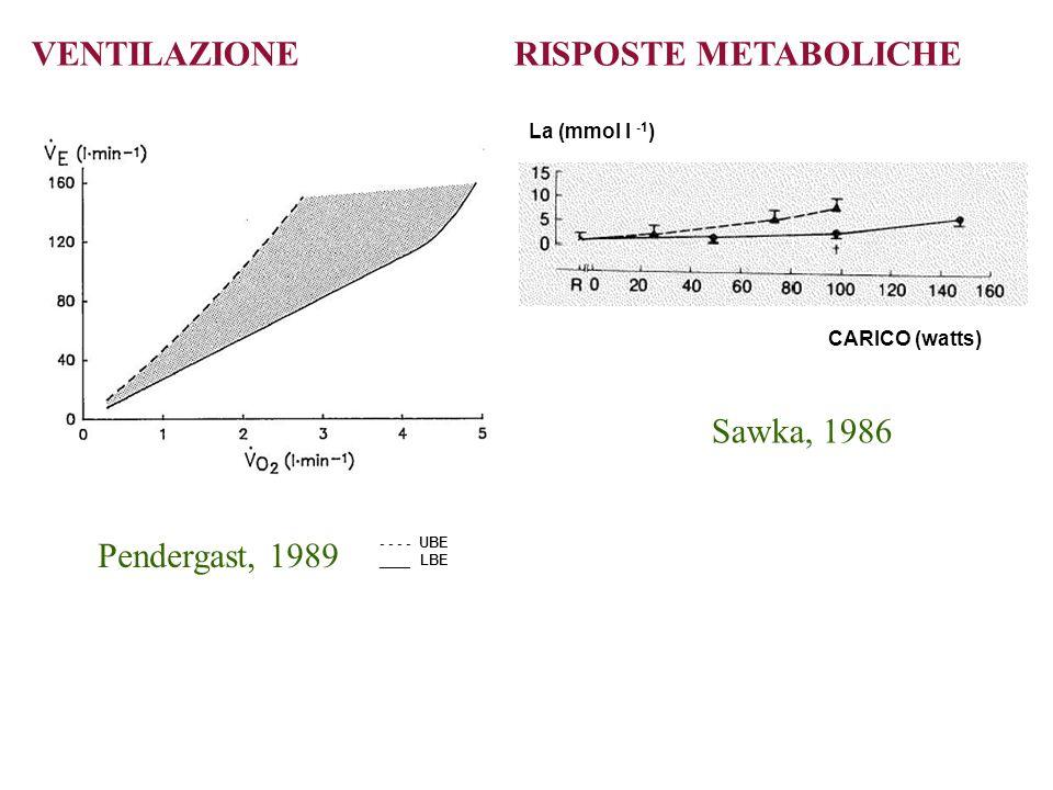 VENTILAZIONE RISPOSTE METABOLICHE Pendergast, 1989 Sawka, 1986 - - - - UBE ____ LBE CARICO (watts) La (mmol l -1 )
