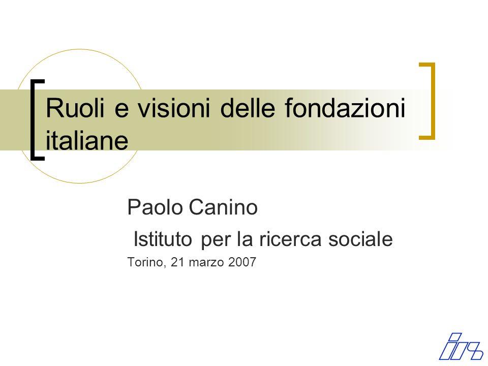 Ruoli e visioni delle fondazioni italiane Paolo Canino Istituto per la ricerca sociale Torino, 21 marzo 2007