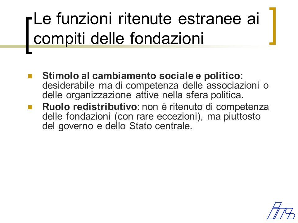Le funzioni ritenute estranee ai compiti delle fondazioni Stimolo al cambiamento sociale e politico: desiderabile ma di competenza delle associazioni
