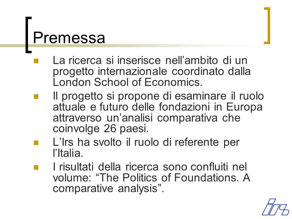 Premessa La ricerca si inserisce nellambito di un progetto internazionale coordinato dalla London School of Economics.
