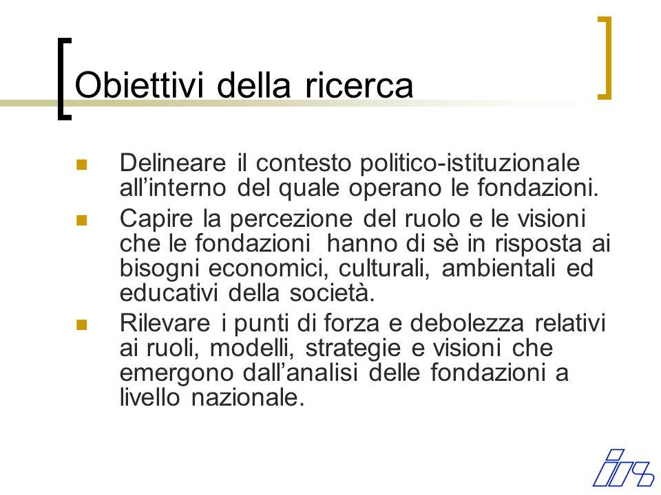 Obiettivi della ricerca Delineare il contesto politico-istituzionale allinterno del quale operano le fondazioni. Capire la percezione del ruolo e le v