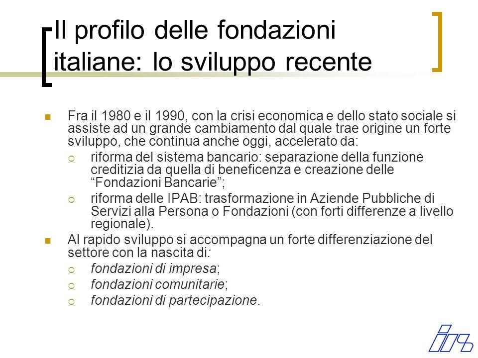 Il profilo delle fondazioni italiane: lo sviluppo recente Fra il 1980 e il 1990, con la crisi economica e dello stato sociale si assiste ad un grande