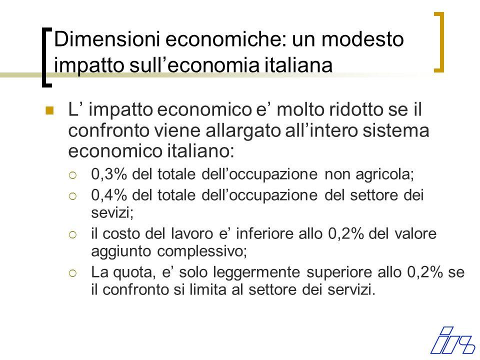 Dimensioni economiche: un modesto impatto sulleconomia italiana L impatto economico e molto ridotto se il confronto viene allargato allintero sistema economico italiano: 0,3% del totale delloccupazione non agricola; 0,4% del totale delloccupazione del settore dei sevizi; il costo del lavoro e inferiore allo 0,2% del valore aggiunto complessivo; La quota, e solo leggermente superiore allo 0,2% se il confronto si limita al settore dei servizi.