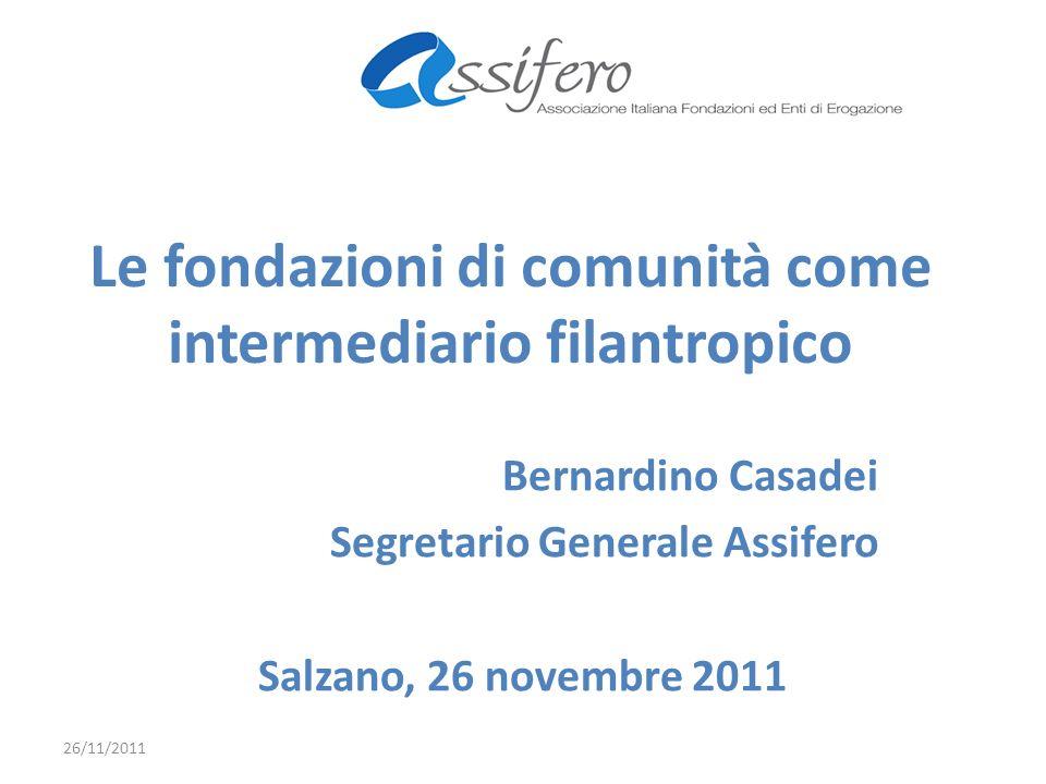Le fondazioni di comunità come intermediario filantropico Bernardino Casadei Segretario Generale Assifero Salzano, 26 novembre 2011 26/11/2011