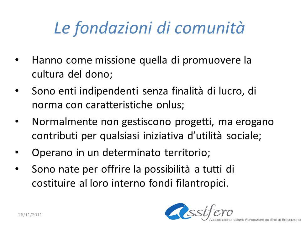 Le fondazioni di comunità Hanno come missione quella di promuovere la cultura del dono; Sono enti indipendenti senza finalità di lucro, di norma con c