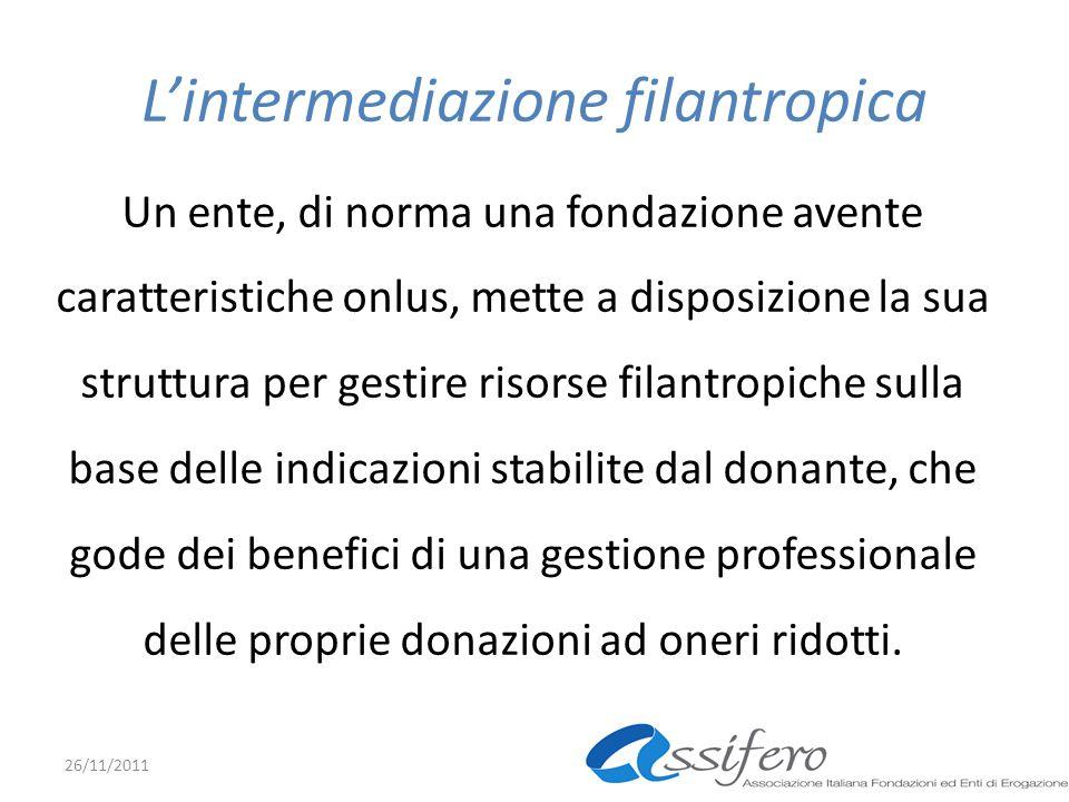 Lintermediazione filantropica Un ente, di norma una fondazione avente caratteristiche onlus, mette a disposizione la sua struttura per gestire risorse