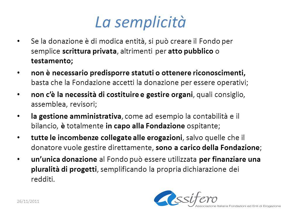 La semplicità Se la donazione è di modica entità, si può creare il Fondo per semplice scrittura privata, altrimenti per atto pubblico o testamento; no