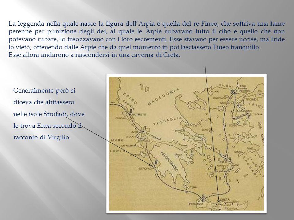 La leggenda nella quale nasce la figura dellArpia è quella del re Fineo, che soffriva una fame perenne per punizione degli dei, al quale le Arpie ruba