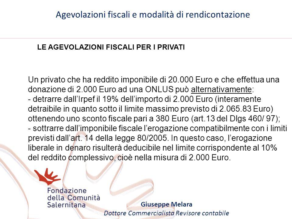 Agevolazioni fiscali e modalità di rendicontazione Giuseppe Melara Dottore Commercialista Revisore contabile LE AGEVOLAZIONI FISCALI PER I PRIVATI Un