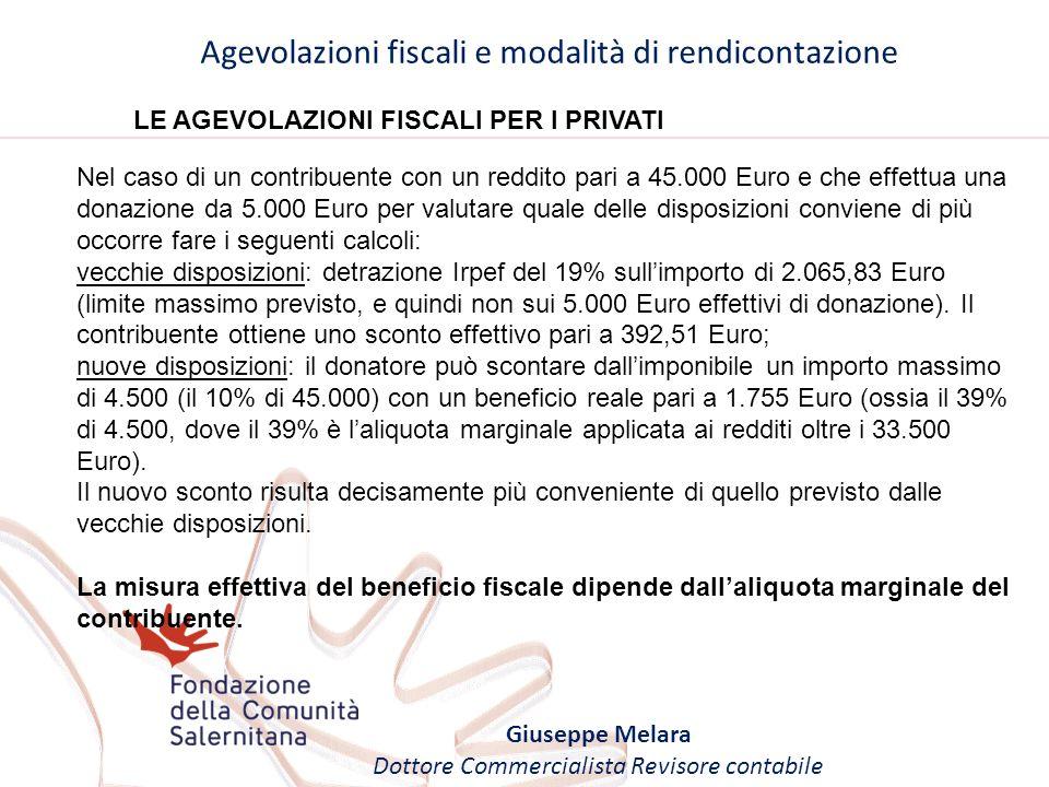 Agevolazioni fiscali e modalità di rendicontazione Giuseppe Melara Dottore Commercialista Revisore contabile LE AGEVOLAZIONI FISCALI PER I PRIVATI Nel