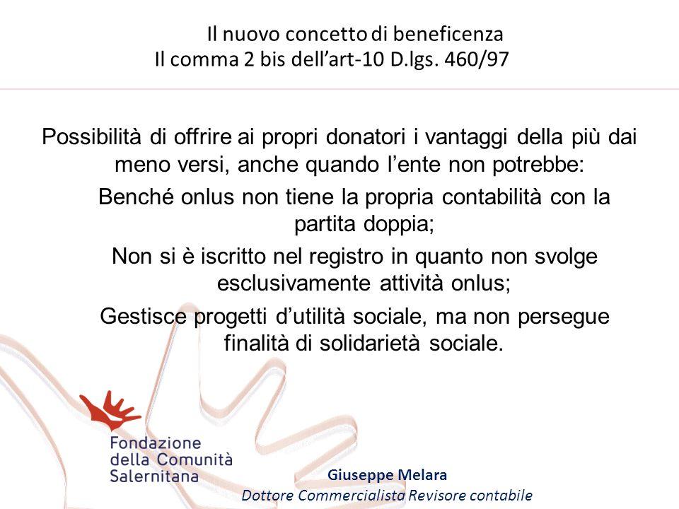 Il nuovo concetto di beneficenza Giuseppe Melara Dottore Commercialista Revisore contabile Il comma 2 bis dellart-10 D.lgs. 460/97 Possibilità di offr