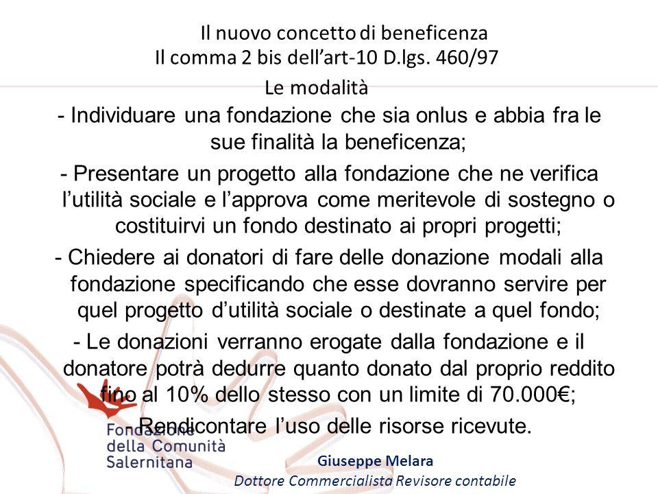 Il nuovo concetto di beneficenza Giuseppe Melara Dottore Commercialista Revisore contabile Il comma 2 bis dellart-10 D.lgs. 460/97 Le modalità - Indiv