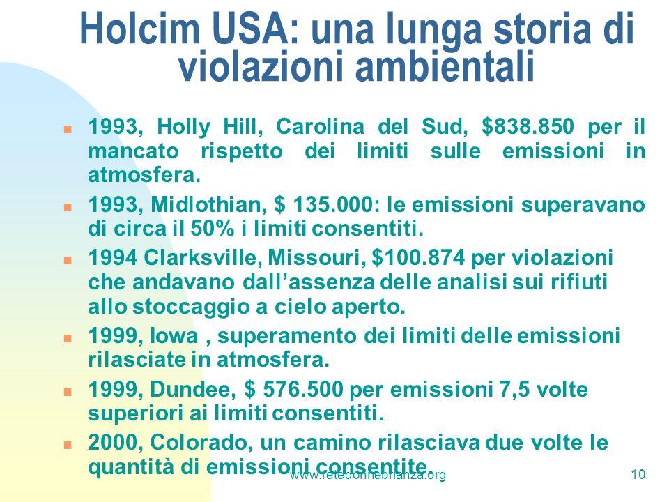 www.retedonnebrianza.org10 Holcim USA: una lunga storia di violazioni ambientali 1993, Holly Hill, Carolina del Sud, $838.850 per il mancato rispetto dei limiti sulle emissioni in atmosfera.