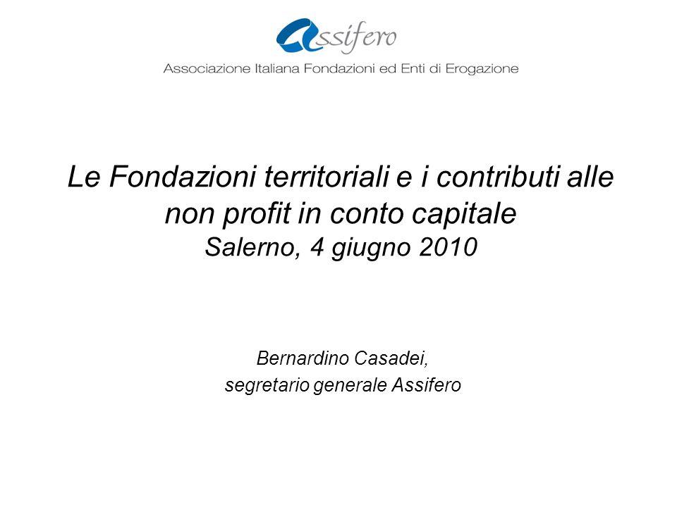 Le Fondazioni territoriali e i contributi alle non profit in conto capitale Salerno, 4 giugno 2010 Bernardino Casadei, segretario generale Assifero