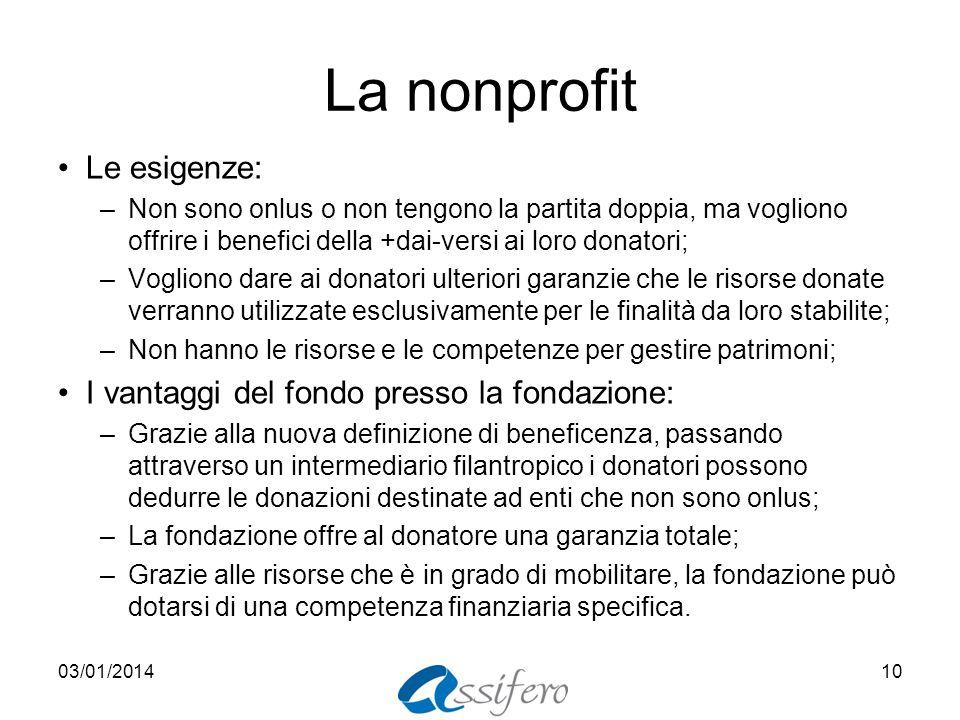 La nonprofit Le esigenze: –Non sono onlus o non tengono la partita doppia, ma vogliono offrire i benefici della +dai-versi ai loro donatori; –Vogliono