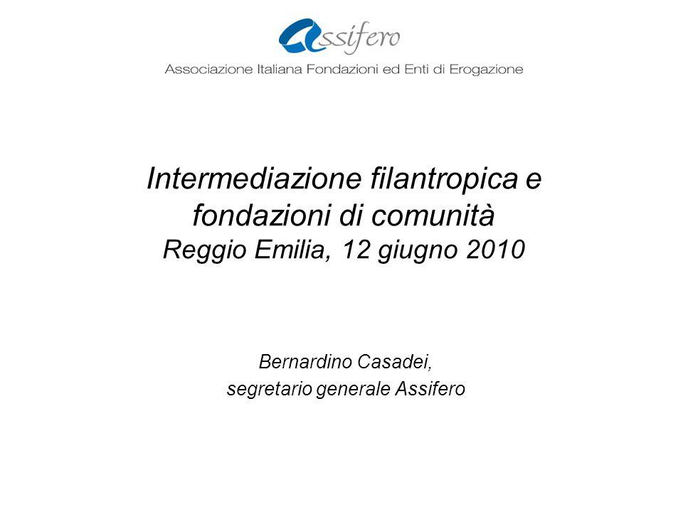 Intermediazione filantropica e fondazioni di comunità Reggio Emilia, 12 giugno 2010 Bernardino Casadei, segretario generale Assifero