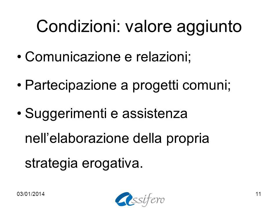 Condizioni: valore aggiunto Comunicazione e relazioni; Partecipazione a progetti comuni; Suggerimenti e assistenza nellelaborazione della propria stra